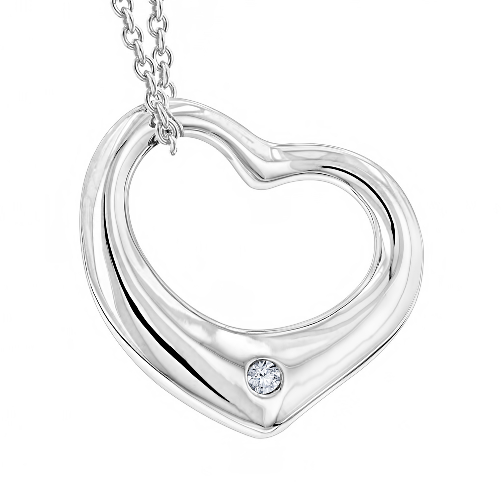Sterling Silver Open Heart Diamond Necklace With Chain Luxurman Love Quotes Regarding 2019 Open Heart Necklaces (Gallery 9 of 25)