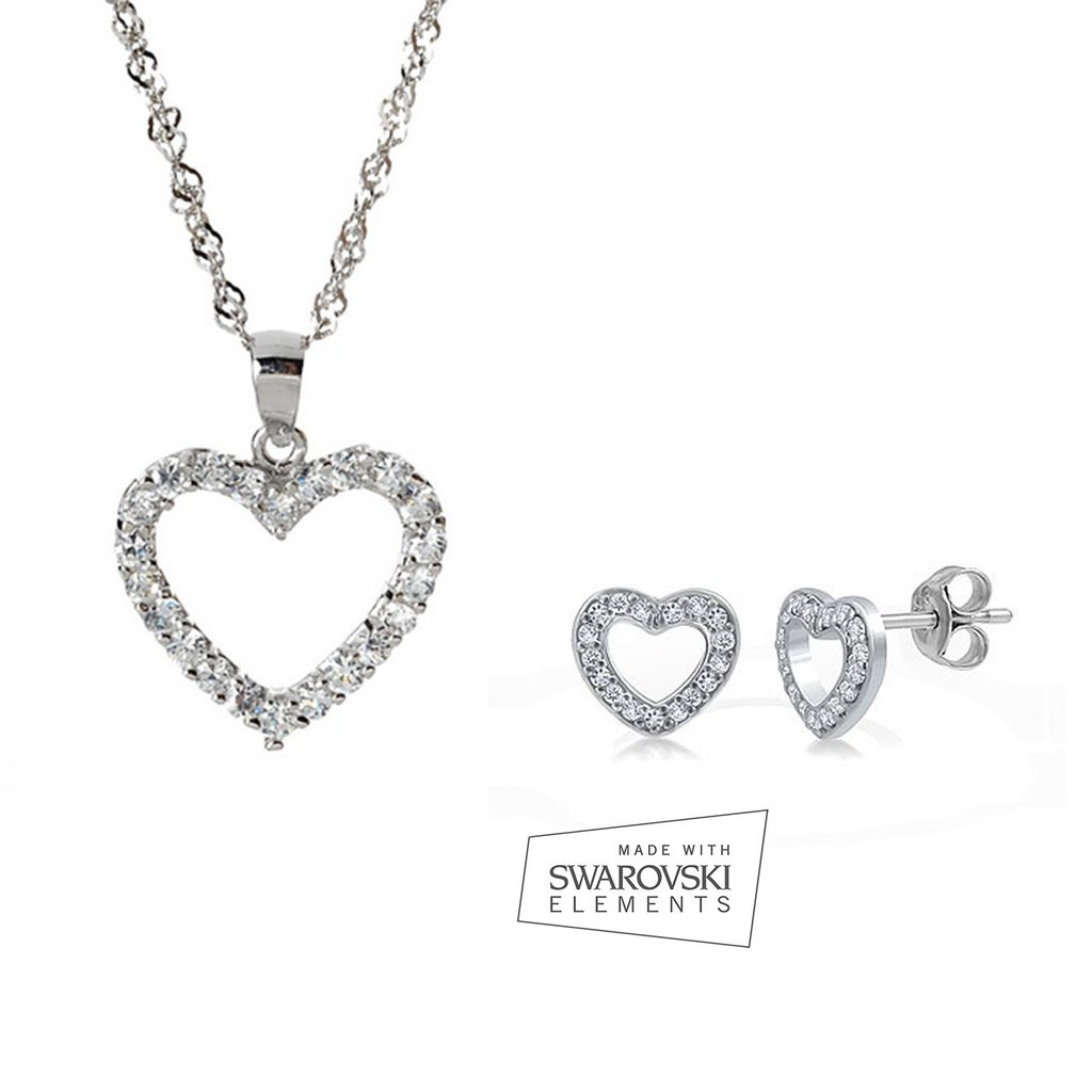 Sterling Silver Pandora Inspired Pave Heart Necklace & Stud Earrings Set In 2019 Pandora Logo Pavé Heart Locket Element Necklaces (View 11 of 25)