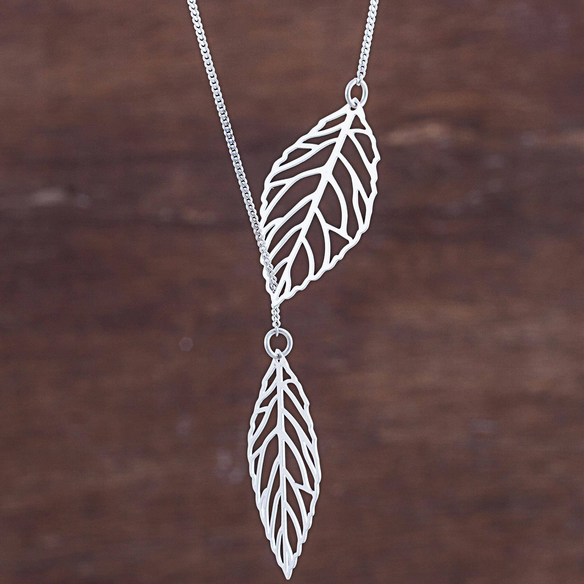 Sterling Silver Pendant Necklace Leaves From Peru, 'shining Leaves' In Latest Shining Leaf Pendant Necklaces (View 5 of 25)