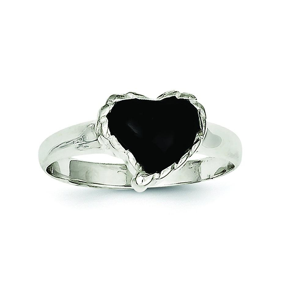Sterling Silver Polished Antiqued Open Back Simulated Onyx Heart Ring –  Ring Size: 6 To 8 Regarding Recent Polished Heart Open Rings (Gallery 14 of 25)