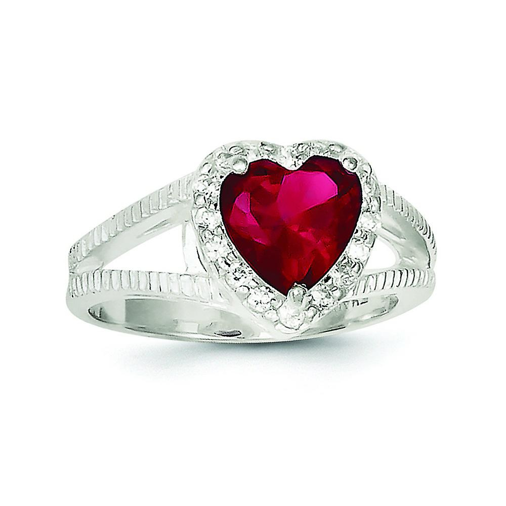 Sterling Silver Polished Open Back Cut Out Sides Red Cubic Zirconia Heart  Ring – Ring Size: 6 To 8 Intended For Current Polished Heart Open Rings (Gallery 20 of 25)