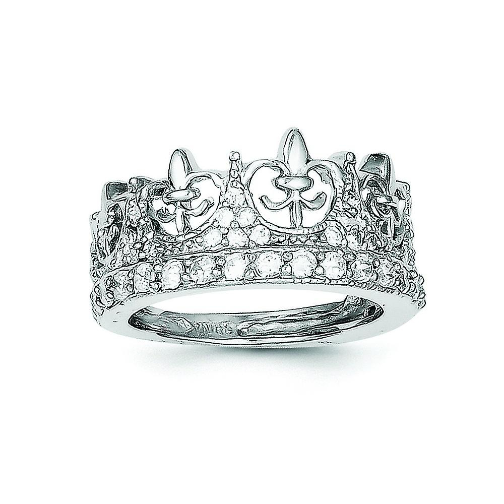 Sterling Silver Polished Open Back Fleur De Lis Rhodium Plated Fleur De Lis  Crown Cubic Zirconia Ring – Ring Size: 6 To With Most Popular Polished Crown Rings (View 19 of 25)
