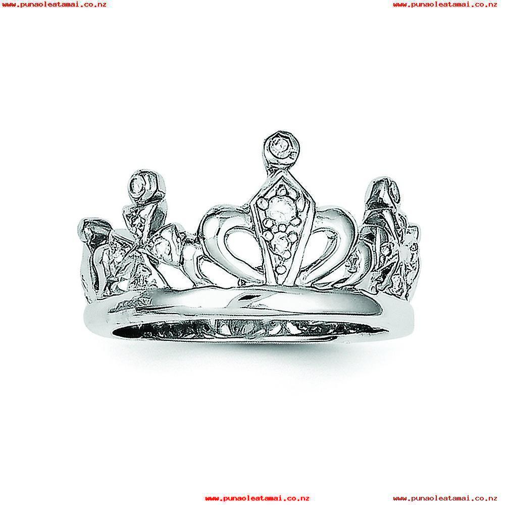 Sterling Silver Polished Open Back Rhodium Plated Cubic Zirconia Intended For Most Recently Released Polished Crown Rings (View 20 of 25)