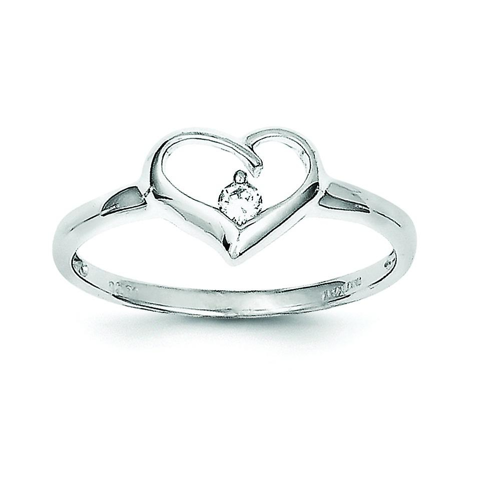 Sterling Silver Polished Open Back Rhodium Plated Rhodium Plated Cubic Zirconia Heart Ring – Ring Size: 6 To 8 Inside Most Popular Polished Heart Open Rings (View 2 of 25)