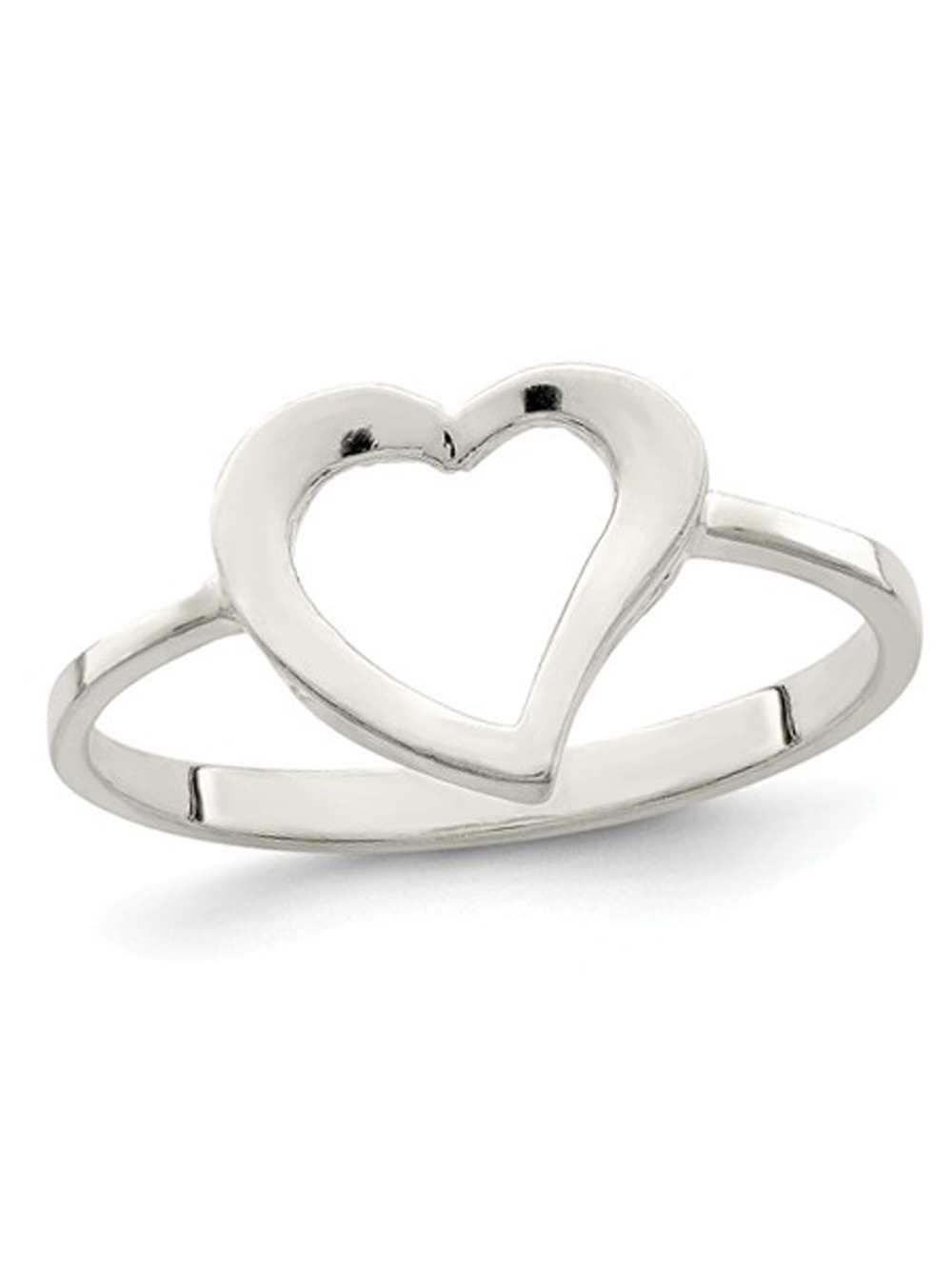 Sterling Silver Polished Open Heart Promise Ring Within Current Polished Heart Open Rings (View 6 of 25)