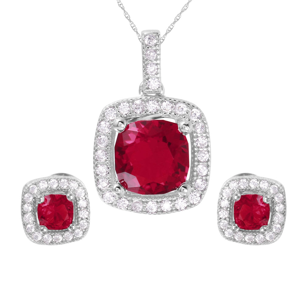 Sterling Silver Red Square Cz Earring And Necklace Set Sgms00020Rh Ruby Regarding Most Popular Square Sparkle Halo Necklaces (Gallery 22 of 25)