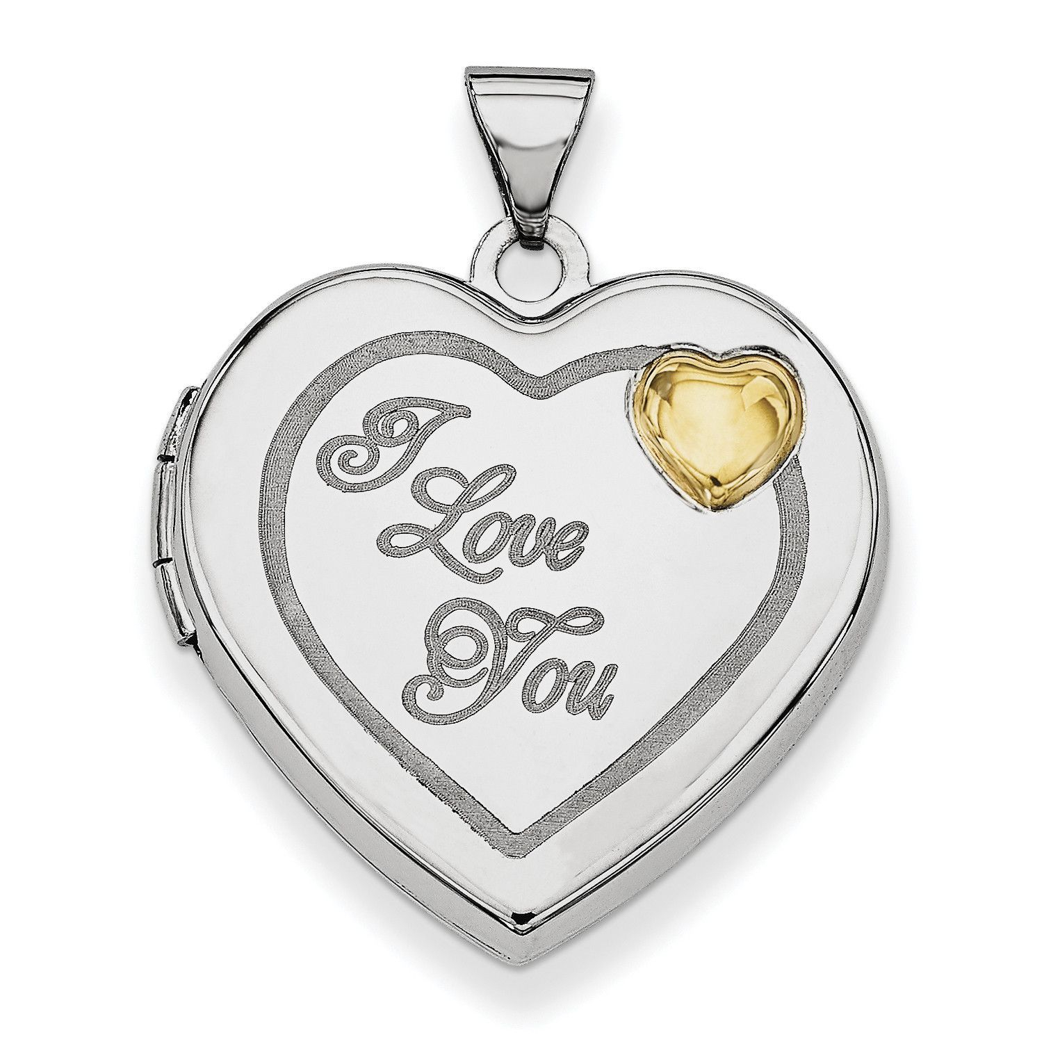 Sterling Silver Rhodium Plated W/gold Plate 21mm Heart Locket Qls605 Within Recent Heart Locket Plate Necklaces (View 11 of 25)