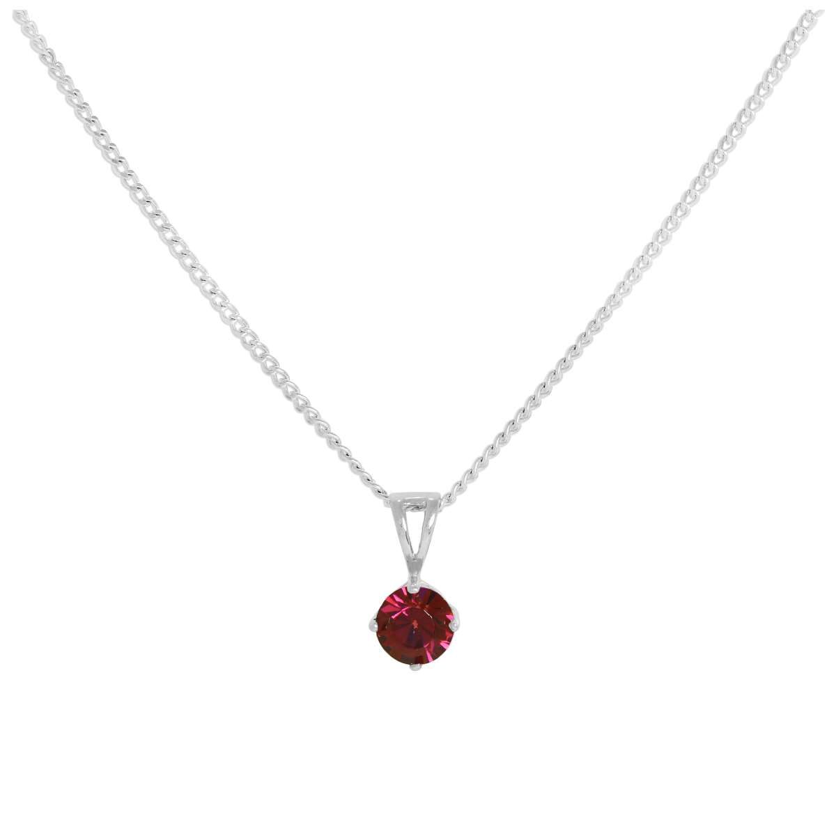 Sterling Silver & Ruby Crystal Made With Swarovski Elements July Birthstone  Pendant On 16 – 24 Inches Chain | Jewellerybox.co (View 22 of 25)