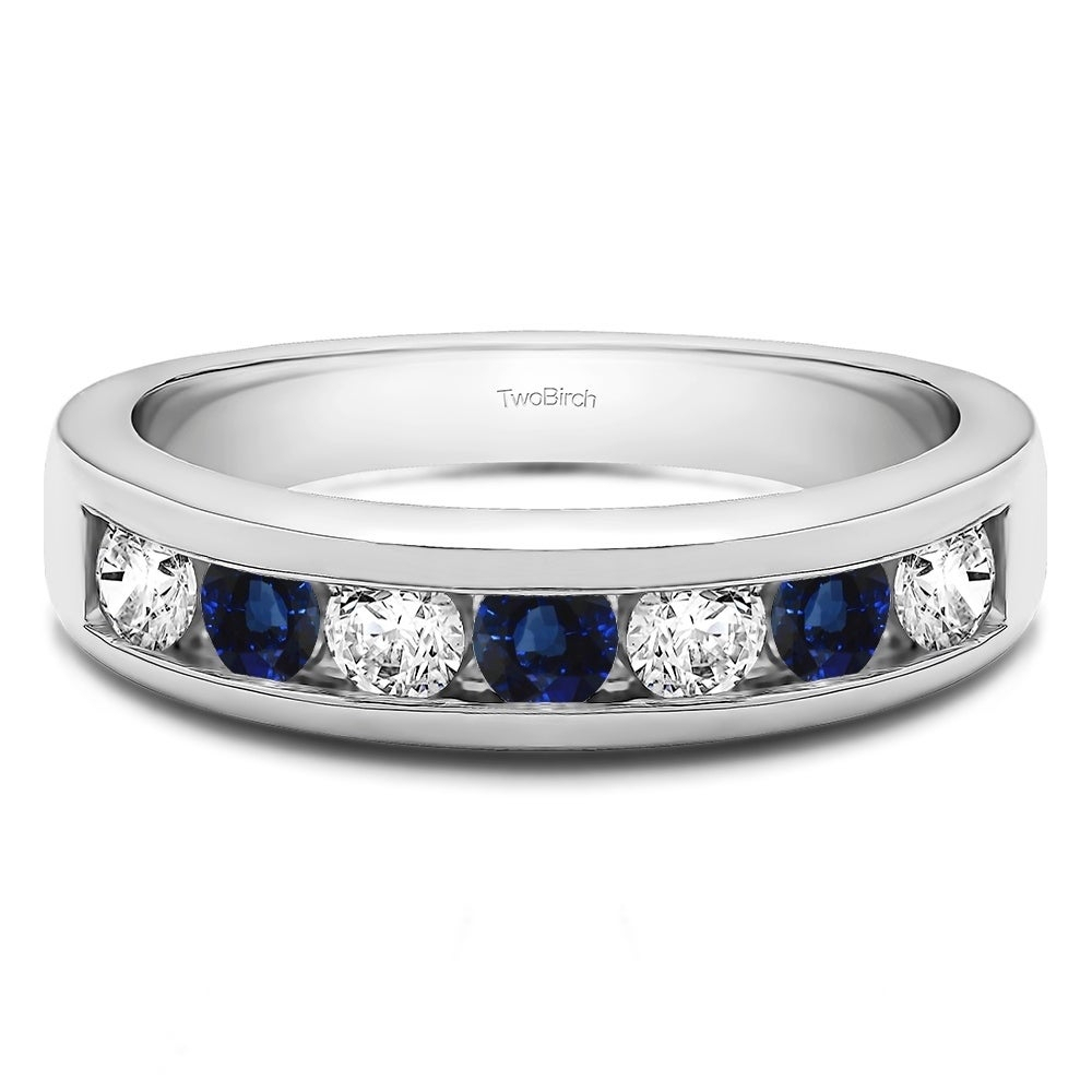 Sterling Silver Seven Stone Channel Set Wedding Ring With Genuine Sapphire  & Diamonds (0.25 Cts. Twt) Inside Newest Diamond Seven Stone Anniversary Bands In Sterling Silver (Gallery 22 of 25)