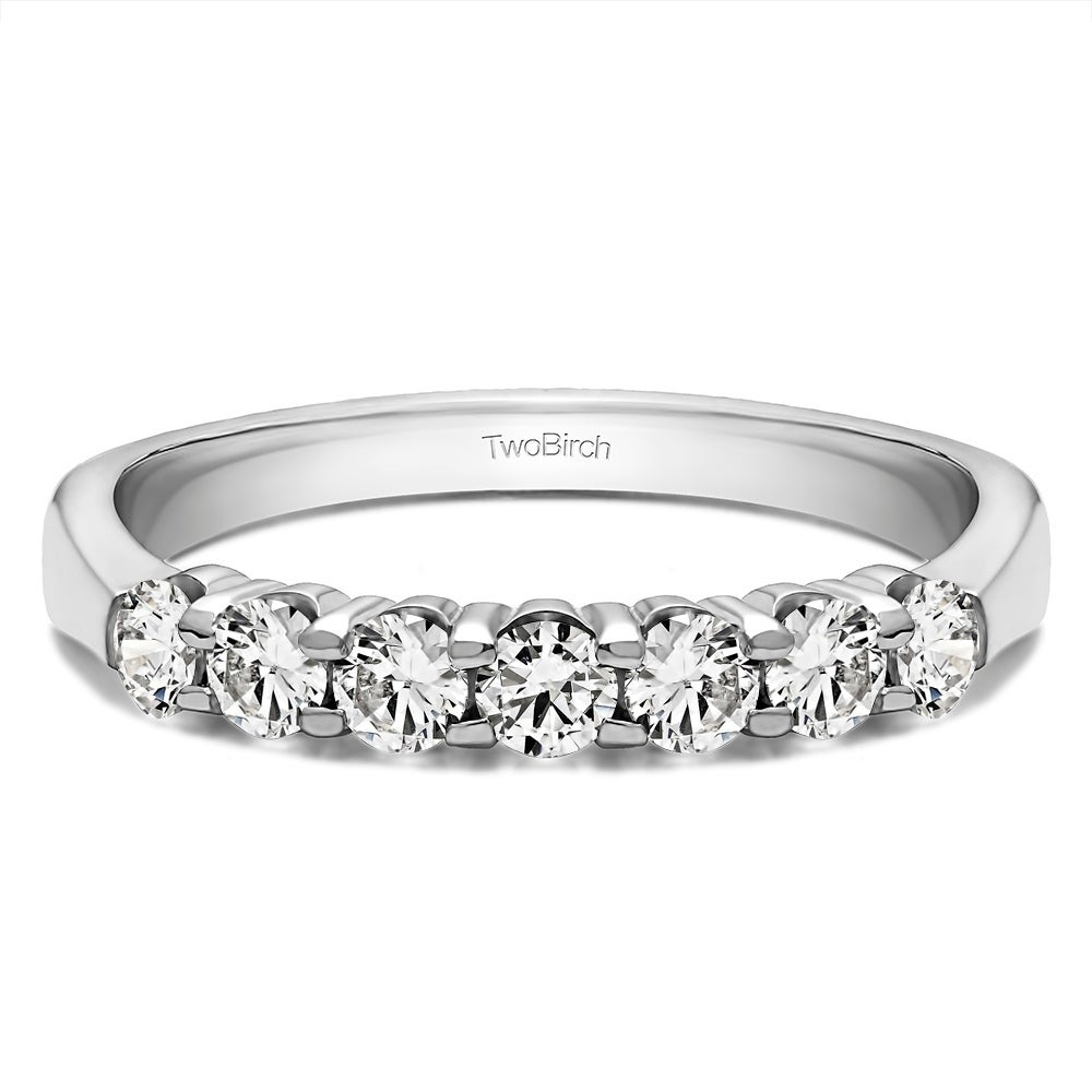 Sterling Silver Seven Stone Shared Prong Tapered Shank Wedding Ring With Diamonds (g H, I2) (0.7 Cts (View 6 of 25)