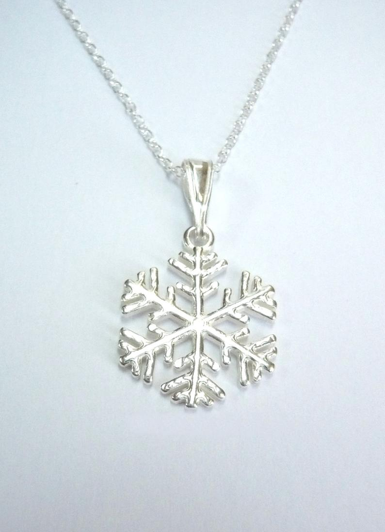 Sterling Silver Snowflake Pendant Chain Necklace Snowflakes Charm Necklace Gift For Her Present Birthday Christmas Wedding Free Uk Postage Regarding Most Up To Date Shimmering Snowflake Locket Element Necklaces (View 2 of 25)