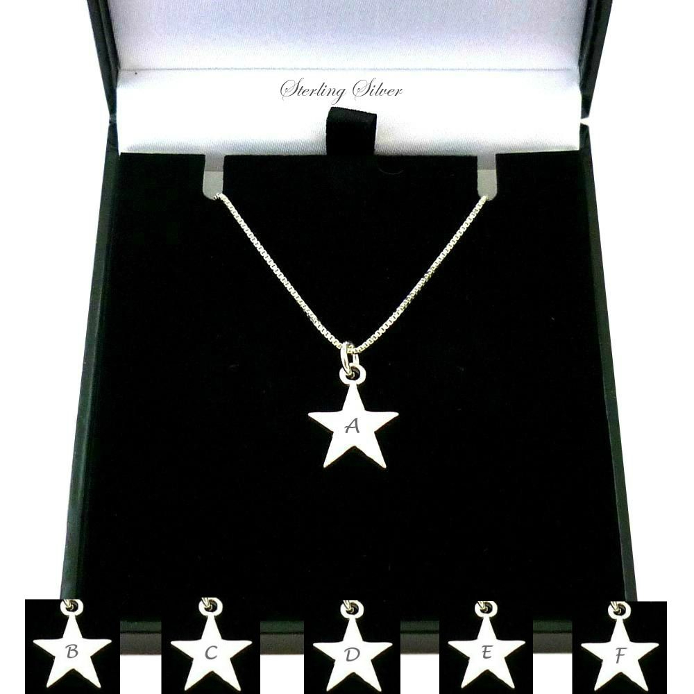 Sterling Silver Star Necklace With Letter Engraved Throughout Most Current Letter W Alphabet Locket Element Necklaces (View 18 of 25)