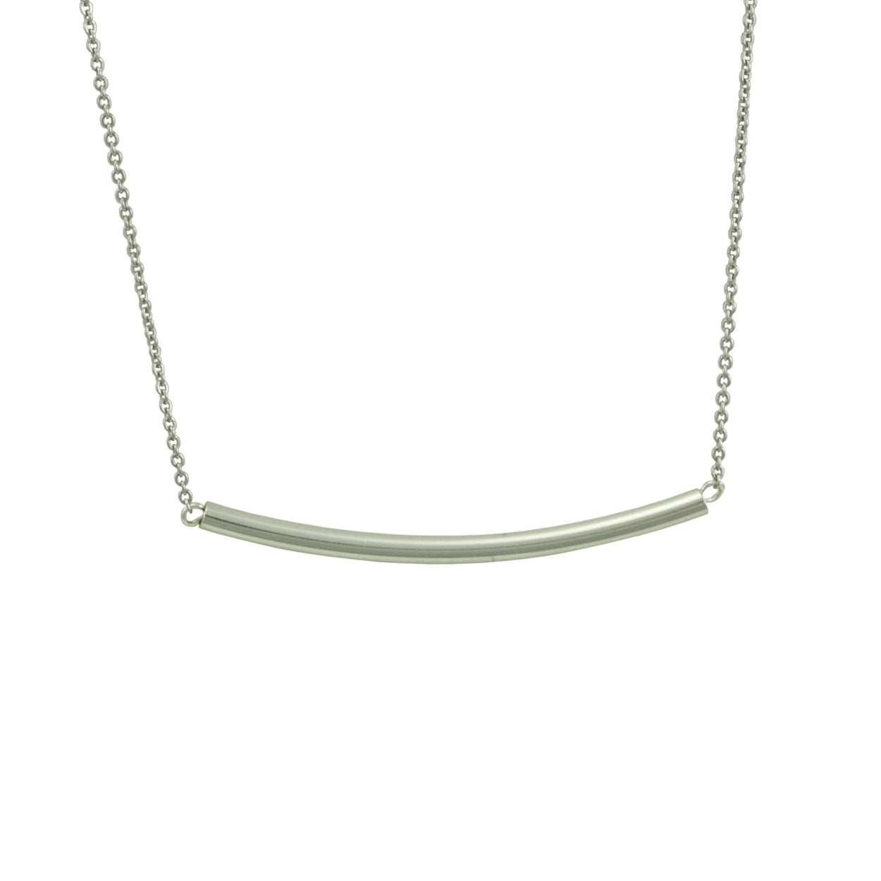 Sterling Silver 'stunning' Curved Bar Necklace For Most Up To Date Sparkling Curved Bar Necklaces (View 4 of 25)