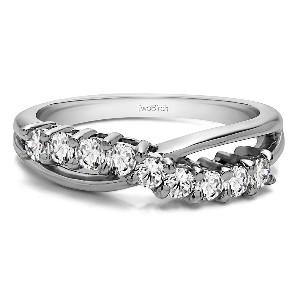 Sterling Silver Ten Stone Shared Prong Bypass Wedding Band With Cubic Zirconia (0.55 Cts. Twt) With Regard To Most Current Diamond Seven Stone Bypass Anniversary Bands In Sterling Silver (Gallery 8 of 25)