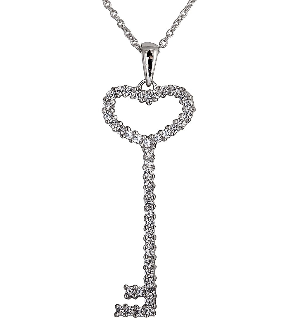 """sterling Silver Thin Pave Heart Key Necklace"" With Regard To Most Up To Date Regal Key Pendant Necklaces (View 23 of 25)"
