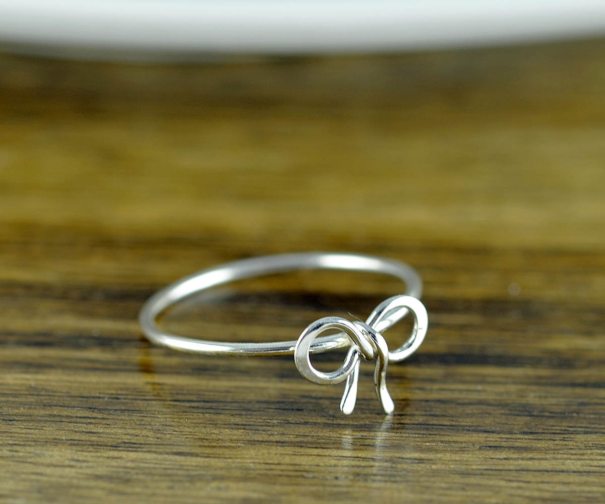 Sterling Silver Tiny Bow Ring, Bow Tie Ring, Tie The Knot Ring, Sterling Silver Intended For Newest Classic Bow Rings (View 6 of 25)