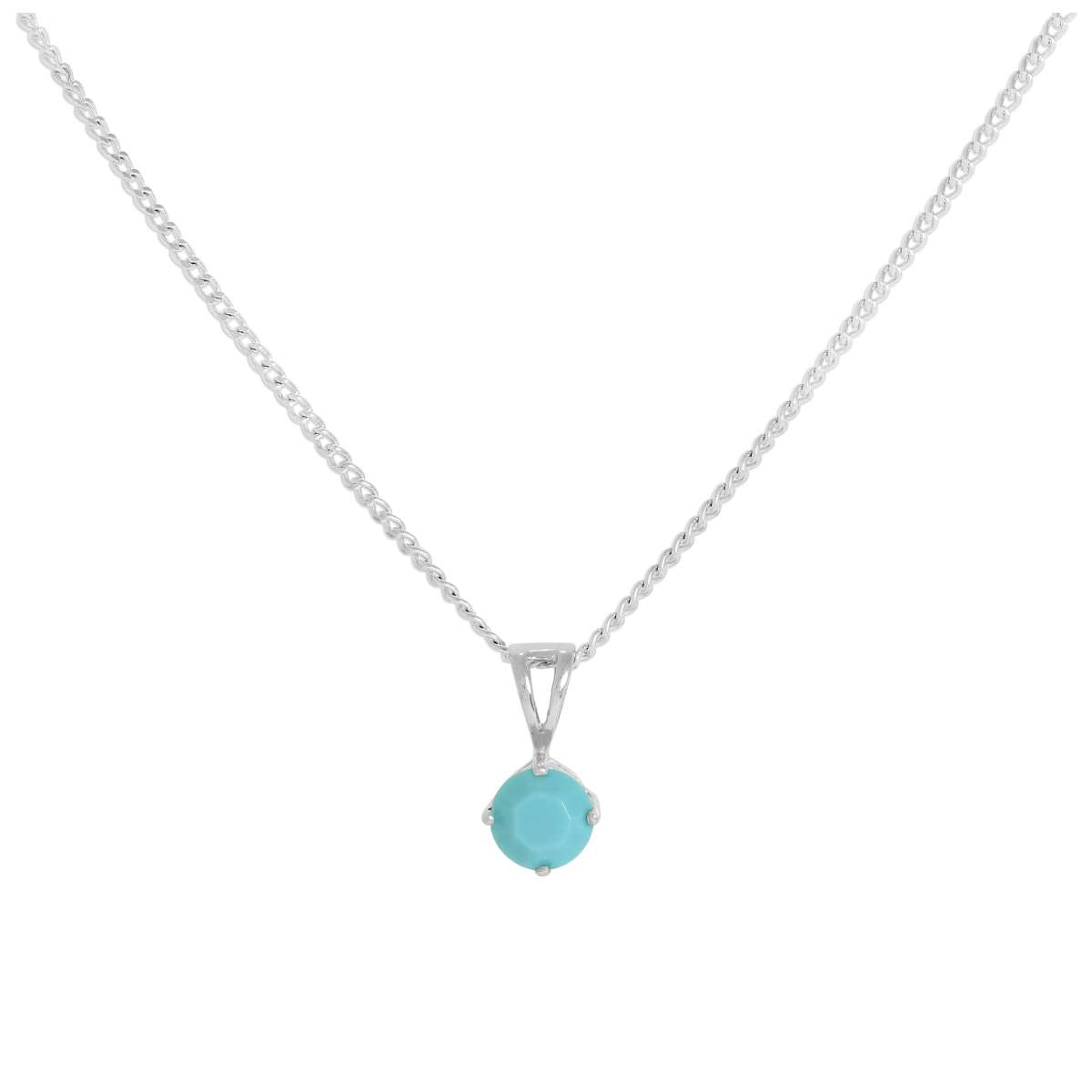 Sterling Silver & Turquoise Crystal Made With Swarovski Elements December  Birthstone Pendant Necklace 16 – 24 Inches | Jewellerybox.co (View 18 of 25)