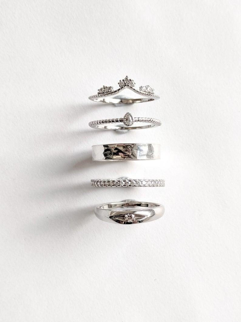 Sterling Silver Wishbone Ring / Tiara Gemstone Ring / Minimal Jewellery / Minimal Stacking Rings In Current Tiara Wishbone Rings (Gallery 20 of 25)