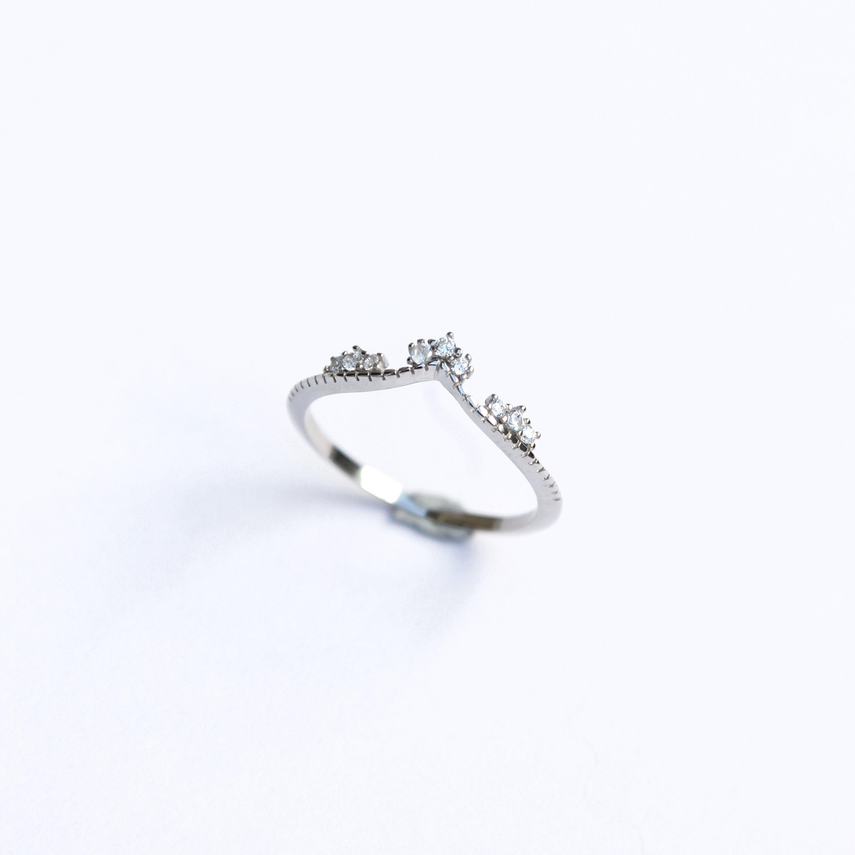 Sterling Silver Wishbone Ring / Tiara Gemstone Ring / Minimal Jewellery / Minimal Stacking Rings Throughout Newest Tiara Wishbone Rings (View 4 of 25)