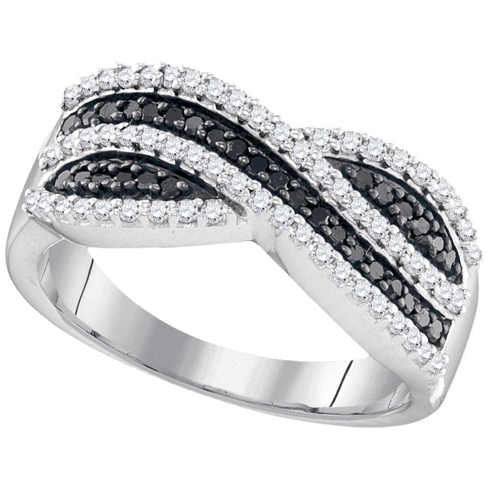 Sterling Silver Womens Round Black Color Enhanced Diamond Crossover Stripe Band Ring 1/2 Cttw – Ring Size 7 Throughout Current Enhanced Black And White Diamond Anniversary Bands In Sterling Silver (Gallery 4 of 25)