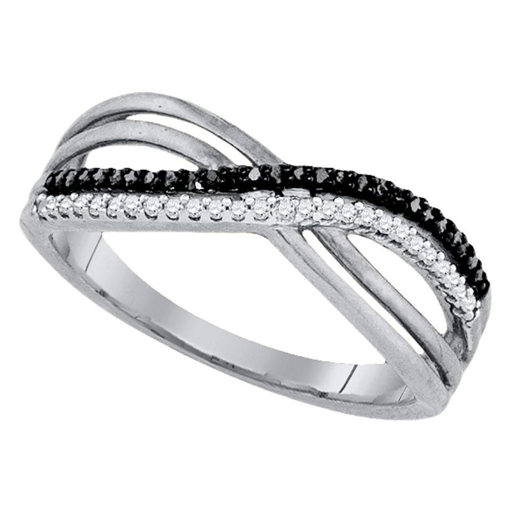 Sterling Silver Womens Round Black Color Enhanced Diamond Double Row Crossover Band 1/6 Cttw – Ring Size 7 Intended For 2019 Enhanced Black Diamond Anniversary Bands In Sterling Silver (View 6 of 25)