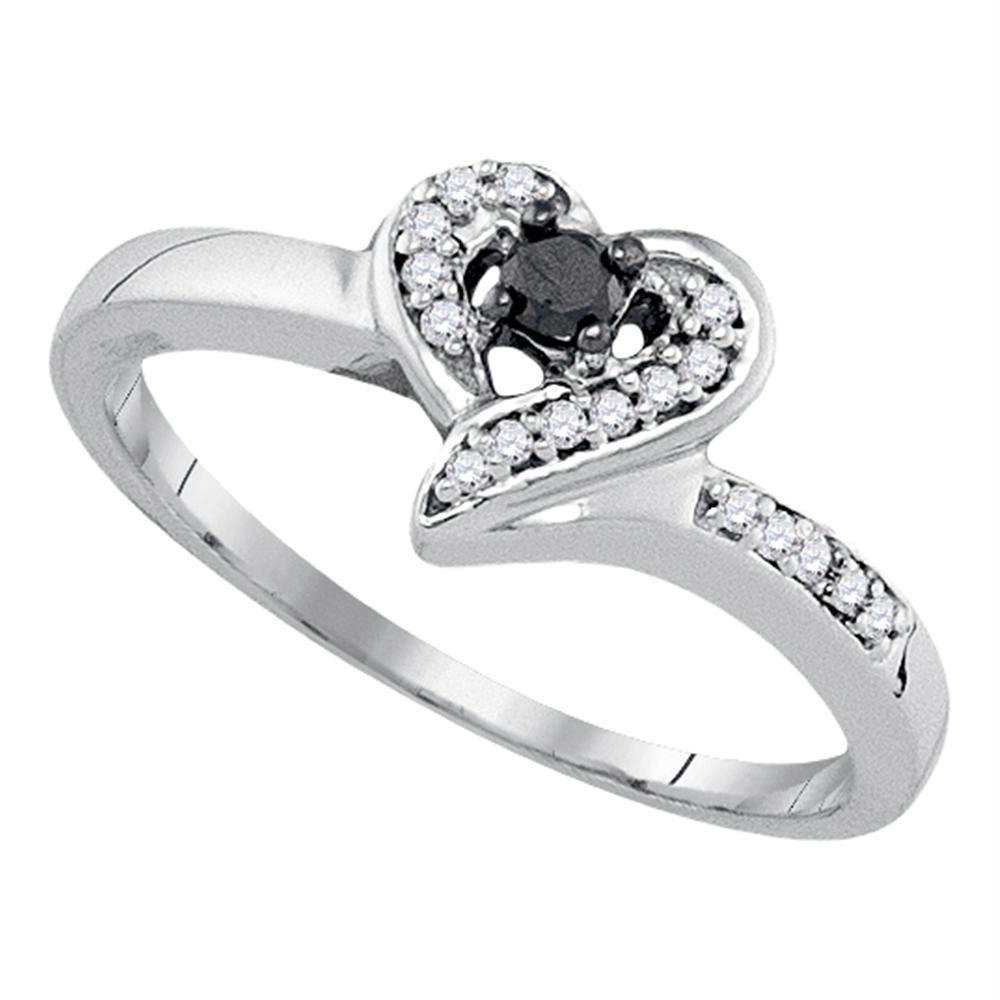 Sterling Silver Womens Round Black Color Enhanced Diamond Heart Ring 1 8  Cttw Inside Current Enhanced Black And White Diamond Anniversary Bands In Sterling Silver (Gallery 14 of 25)