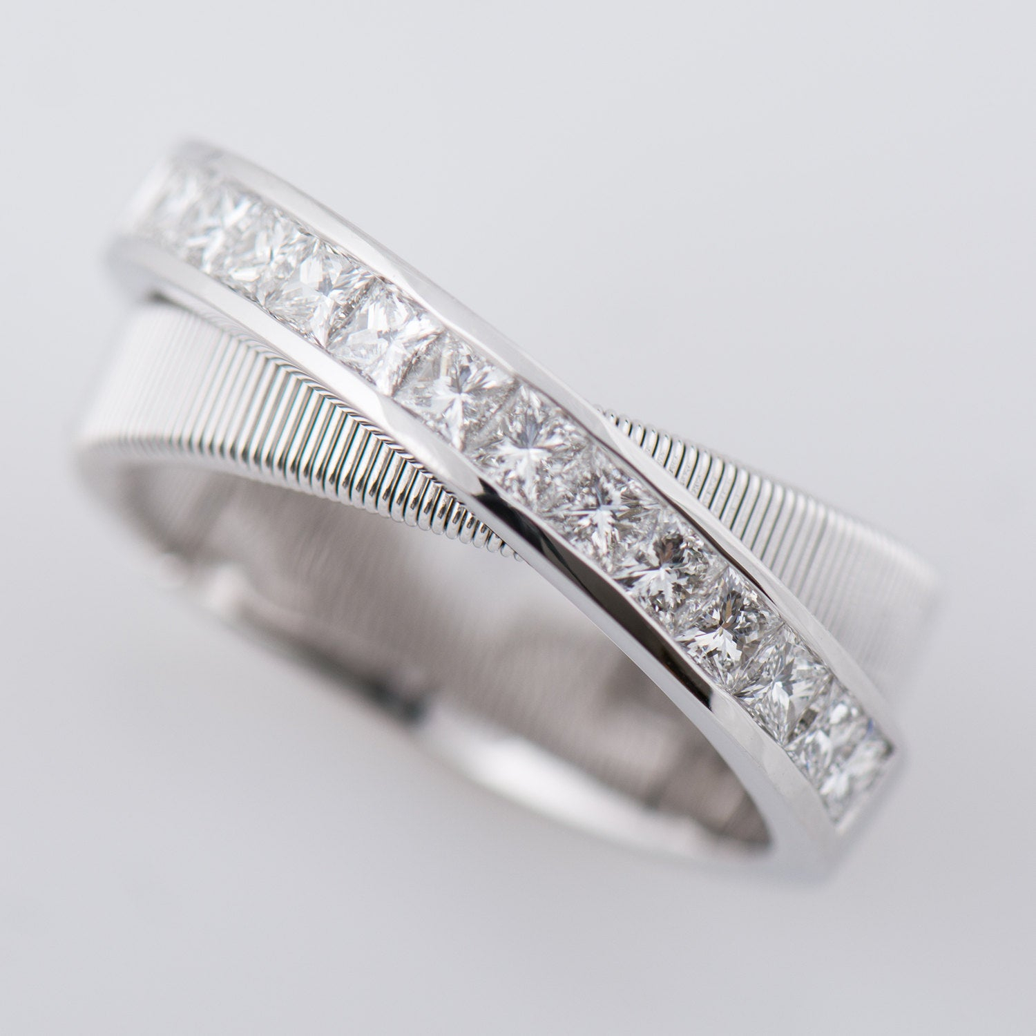 Strands 5 – 18K White Gold Ring, Eternity Ring, Infinity Ring, Princess  Diamonds Ring, Cross Ring, Anniversary Ring, Criss Cross, Coil With Regard To Current Princess Cut Diamond Criss Cross Anniversary Bands In White Gold (View 19 of 25)