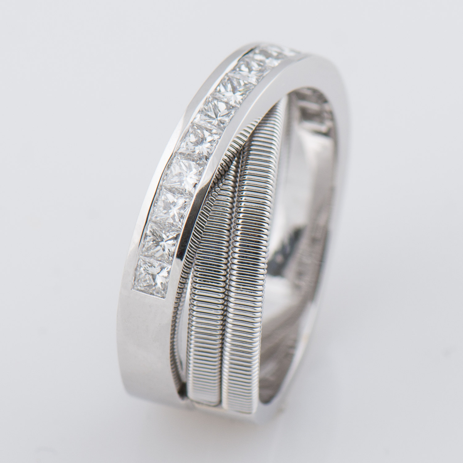 Strands 6 – Half Eternity Ring, Wedding Ring, 18K White Gold Ring, Princess  Diamonds Ring, Cross Ring, Anniversary Ring, Criss Cross, Coil With Regard To Newest Princess Cut Diamond Criss Cross Anniversary Bands In White Gold (View 20 of 25)