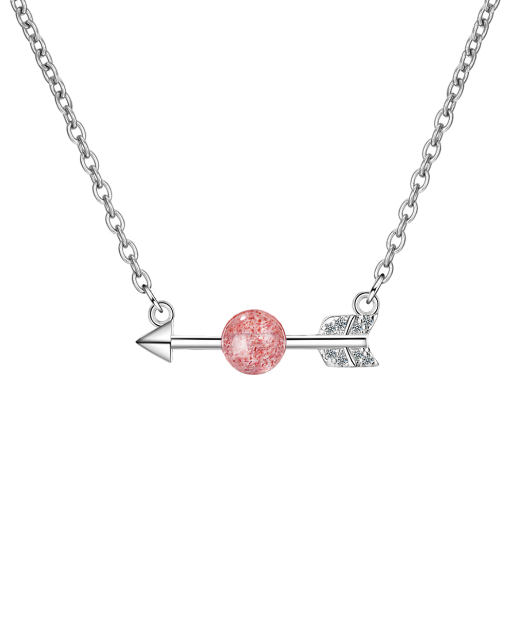 Streetregion Strawberry Red Crystal & Silvertone Arrow Pendant Necklace Inside 2019 Sparkling Arrow Necklaces (View 15 of 25)