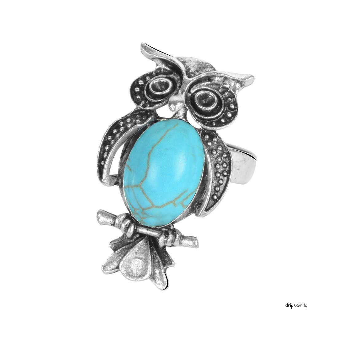 Stripes Turquoise Stone Owl Shape Big Finger Ring For Women/girls Within Most Popular Blue Stripes & Stones Rings (Gallery 19 of 25)
