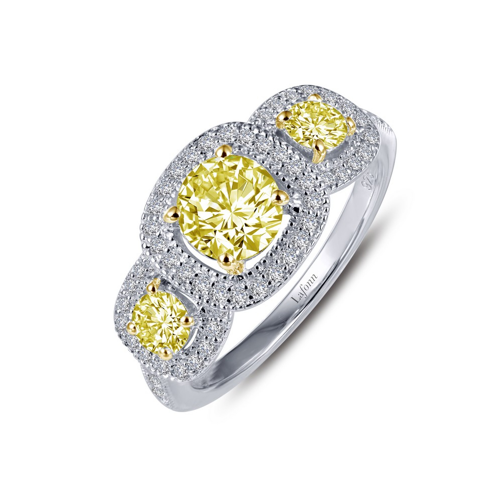Stunning Two Tone Three Stone Ring Set With Clear And Canary Simulated  Diamonds In Sterling Silver Bonded With Platinum The Yellow Gold Prongs And Pertaining To Newest Clear Three Stone Rings (View 19 of 25)