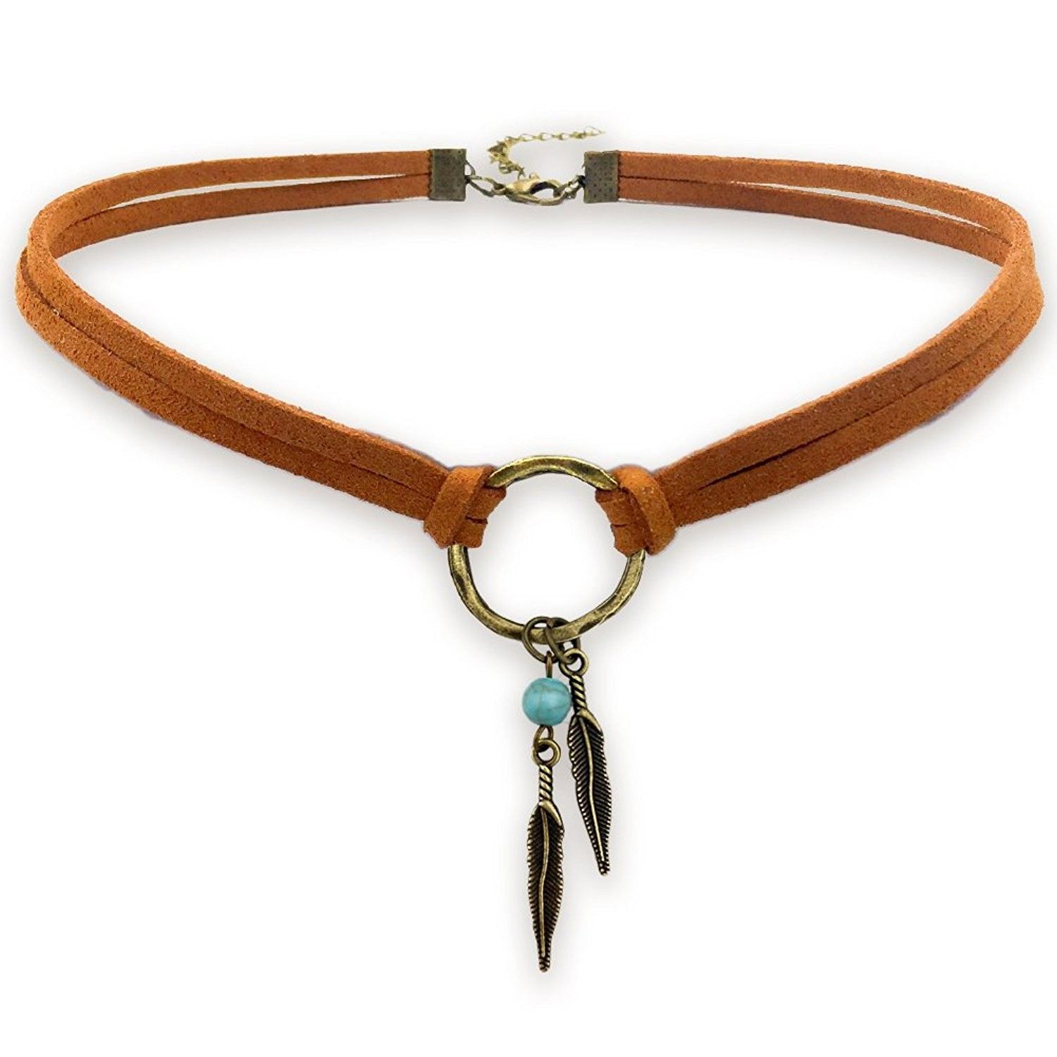 Suede Choker Necklace For Women  Native American Indian Jewelry Within Recent Golden Tan Leather Feather Choker Necklaces (View 22 of 25)