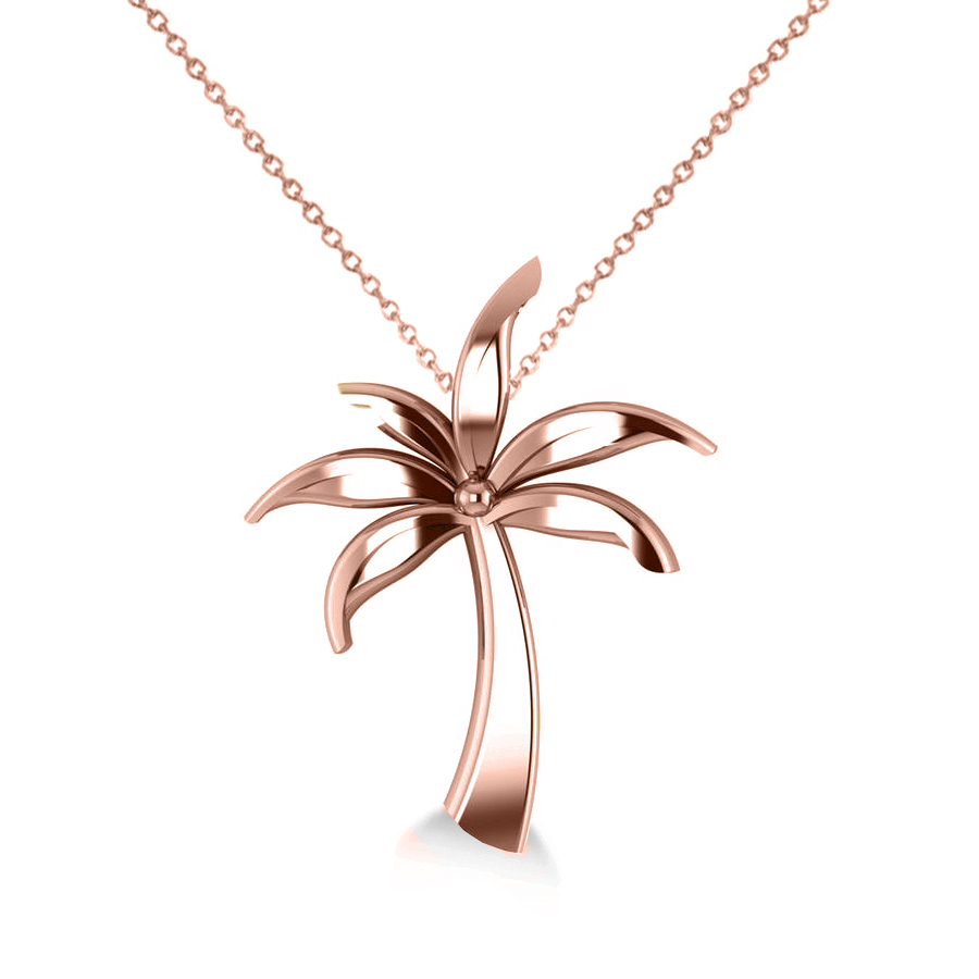 Summer Palm Tree Pendant Necklace In 14k Rose Gold For 2020 Tropical Palm Pendant Necklaces (View 13 of 25)