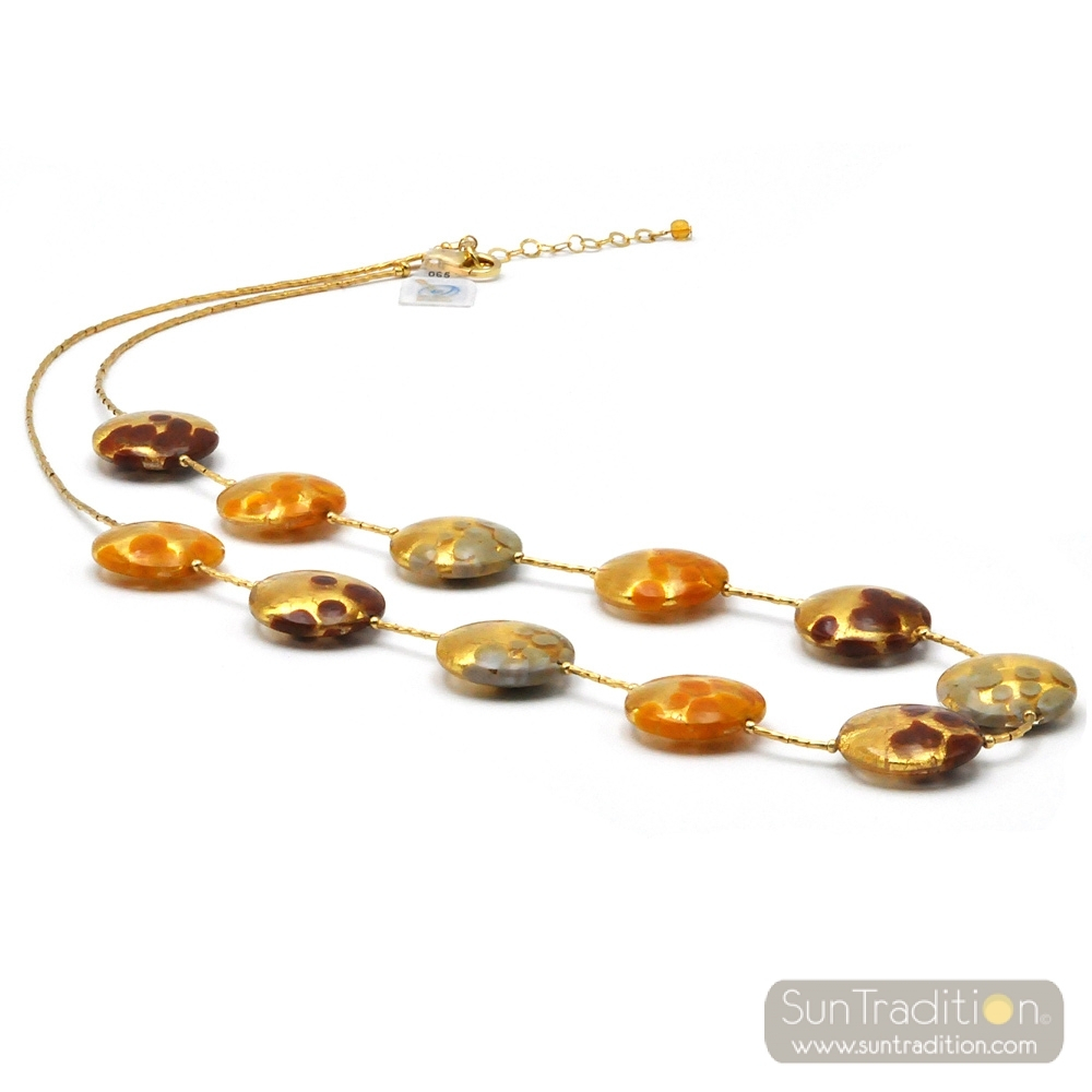 Sunset Ams – Gold Orange Multicolor Necklace Murano Glass Throughout Most Recently Released Pink Murano Glass Leaf Pendant Necklaces (View 21 of 25)