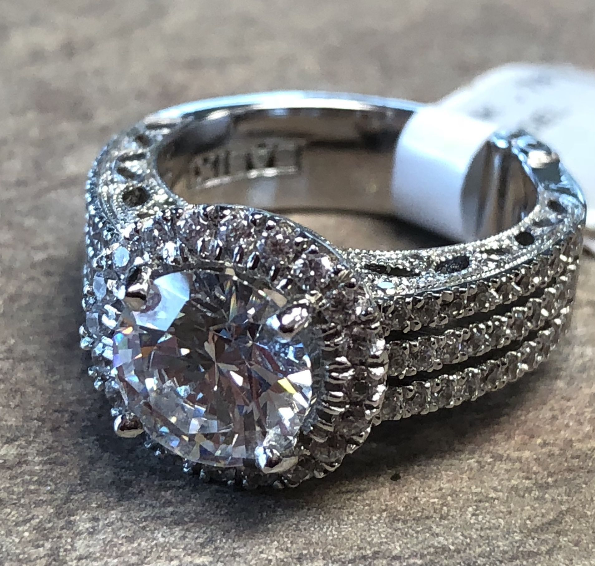 Super Sparkly Round Halo Engagement Ring With Triple Row Of Pave Intended For 2018 Square Sparkle Halo Rings (View 16 of 25)