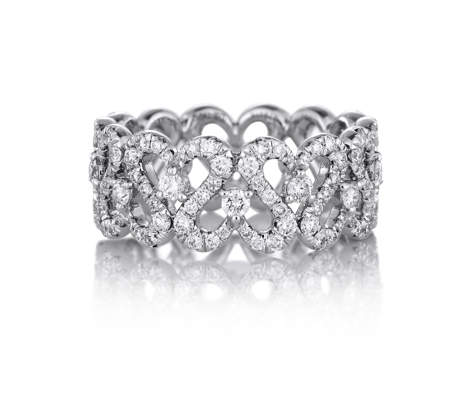 Swan Pavé Band In Latest Pavé Hearts Band Rings (Gallery 12 of 25)