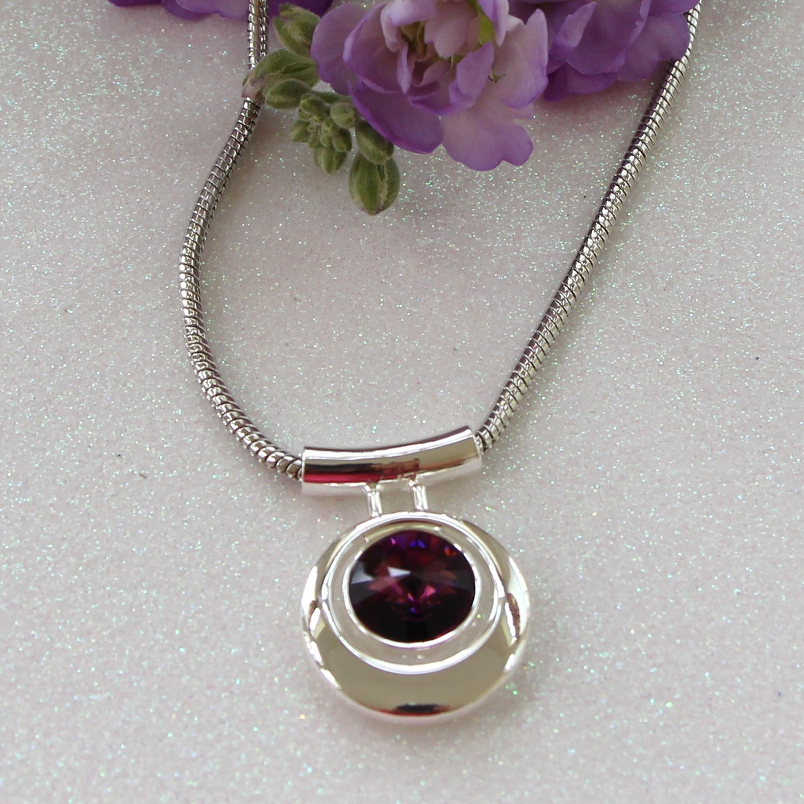 Swarovski Crystal Element Necklace – Amethyst From Chrizie With Most Recently Released Purple February Birthstone Locket Element Necklaces (View 25 of 25)