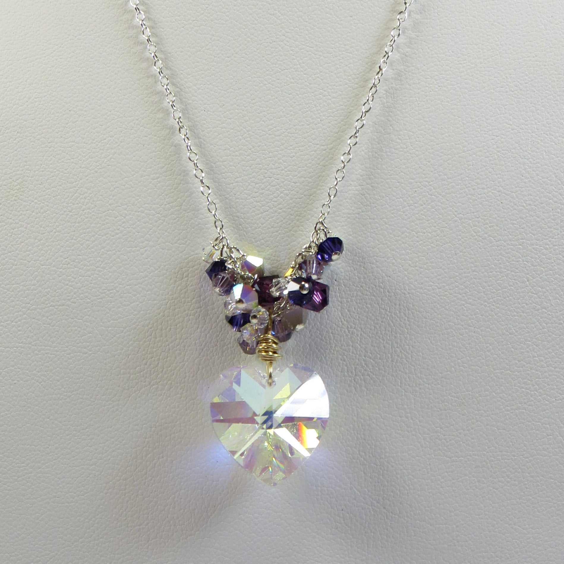 Swarovski Crystal Sparkle Heart Necklace, Swarovski Crystal Elements Ab Aurora Borealis Heart And 925 Sterling Silver Chain And Components Throughout Newest Sparkling Daisy Flower Locket Element Necklaces (View 13 of 25)