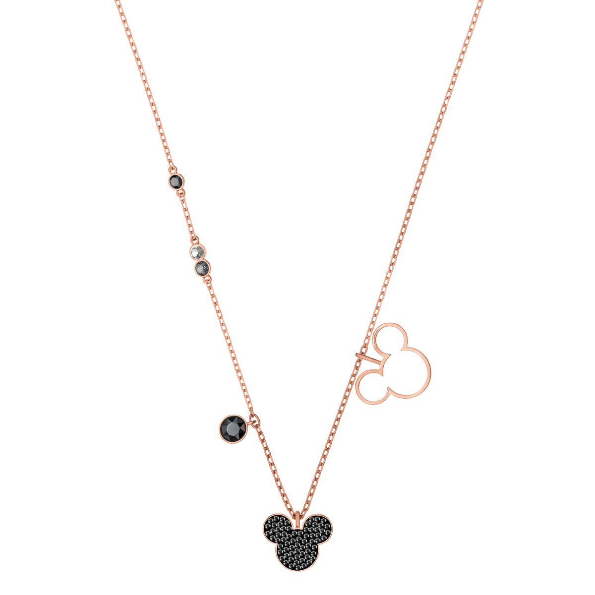 Swarovski Disney Mickey And Minnie Multi Colored Rose Gold Pendant Necklace With Regard To Most Up To Date Disney Classic Mickey Pendant Necklaces (View 24 of 25)