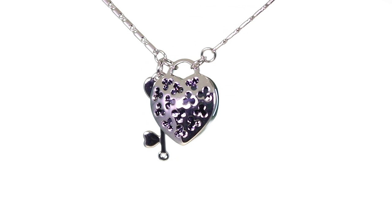 "Swarovski Element Heart Lock And Key Rhodium Plated Pendant Necklace 18""  With 1.5"" Extender, Blue For Recent Heart Padlock Locket Element Necklaces (Gallery 18 of 25)"