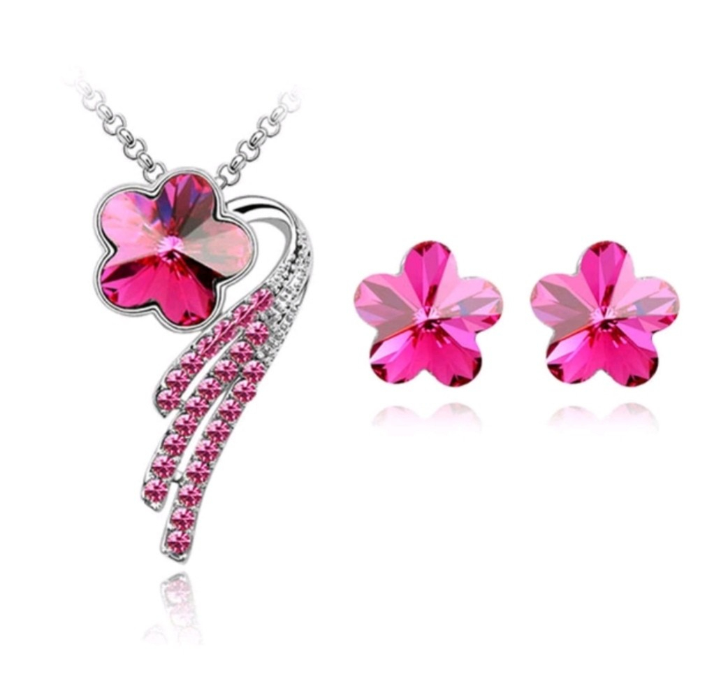 Swarovski Elements Crystal Cherry Blossom Necklace Earring Set With Recent Pink Cherry Blossom Flower Locket Element Necklaces (View 12 of 25)