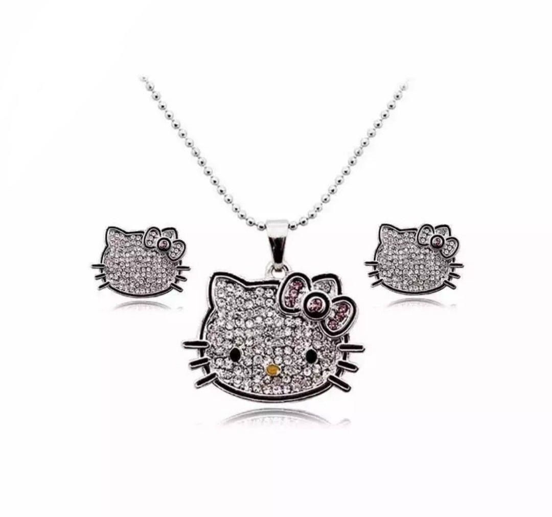 Swarovski Elements Crystal Hello Kitty Necklace Earring Set Within Most Recent Letter G Alphabet Locket Element Necklaces (View 16 of 25)