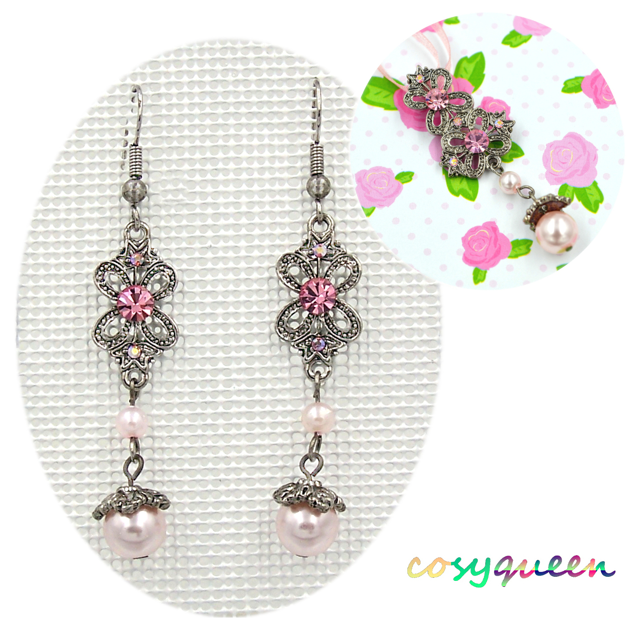 Swarovski Elements Crystal New Pink Pearl Butterfly Necklace Earring With Regard To Most Recently Released Pink Butterfly Locket Element Necklaces (View 25 of 25)