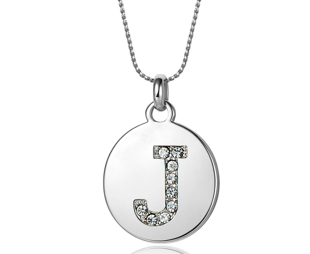 Swarovski Elements Crystal Rhodium Plated Initial Pendant Letter J (No  Necklace) | Ebay Pertaining To Best And Newest Letter J Alphabet Locket Element Necklaces (View 22 of 25)