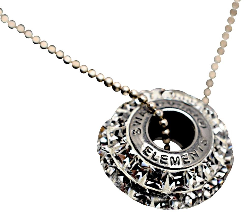 Swarovski Elements Silver Crystal Pave' Round Pendant Necklace – Tradesy Intended For Most Current Pavé Locket Element Necklaces (View 6 of 25)