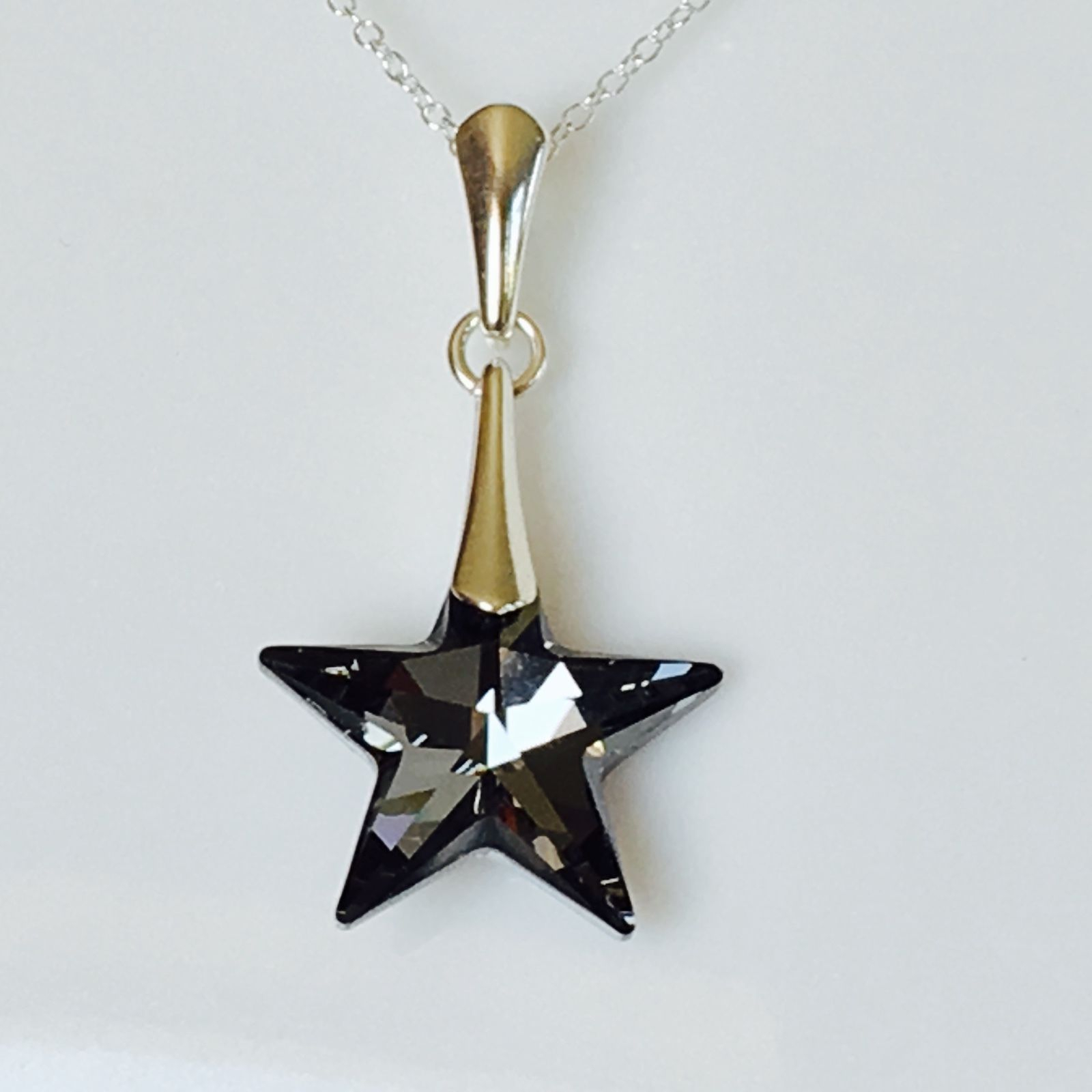 Swarovski Elements Silver Night Star With Regard To 2019 Sparkling Gift Locket Element Necklaces (Gallery 15 of 25)