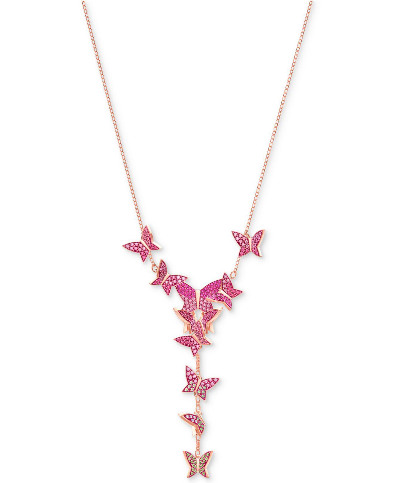 """Swarovski Multicolor Rose Gold Tone Butterfly 14 7/8"""" Y Necklace Regarding Most Popular Sparkling Butterfly Y  Necklaces (View 23 of 25)"""