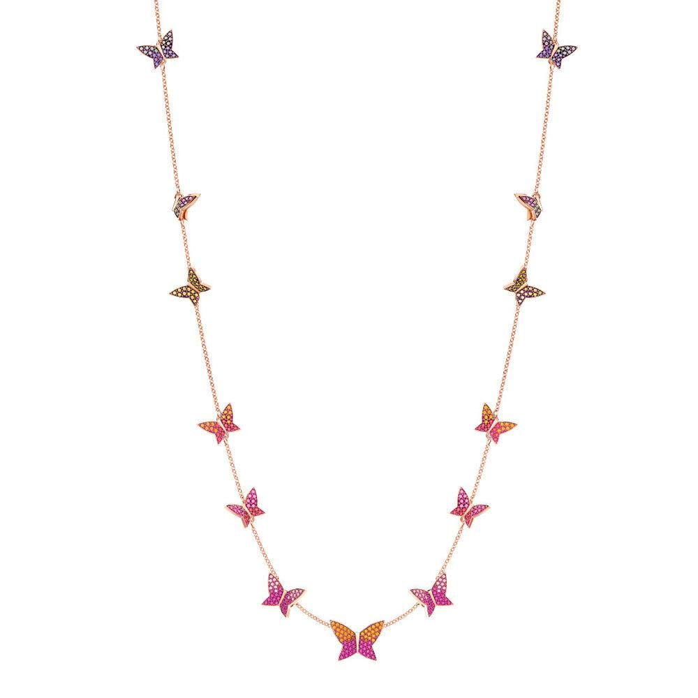 Swarovski Necklace W/ Butterflies Lilia Strandage, Multi Color, Rose With Regard To Most Up To Date Pink Pavé Butterfly Collier Necklaces (View 11 of 25)