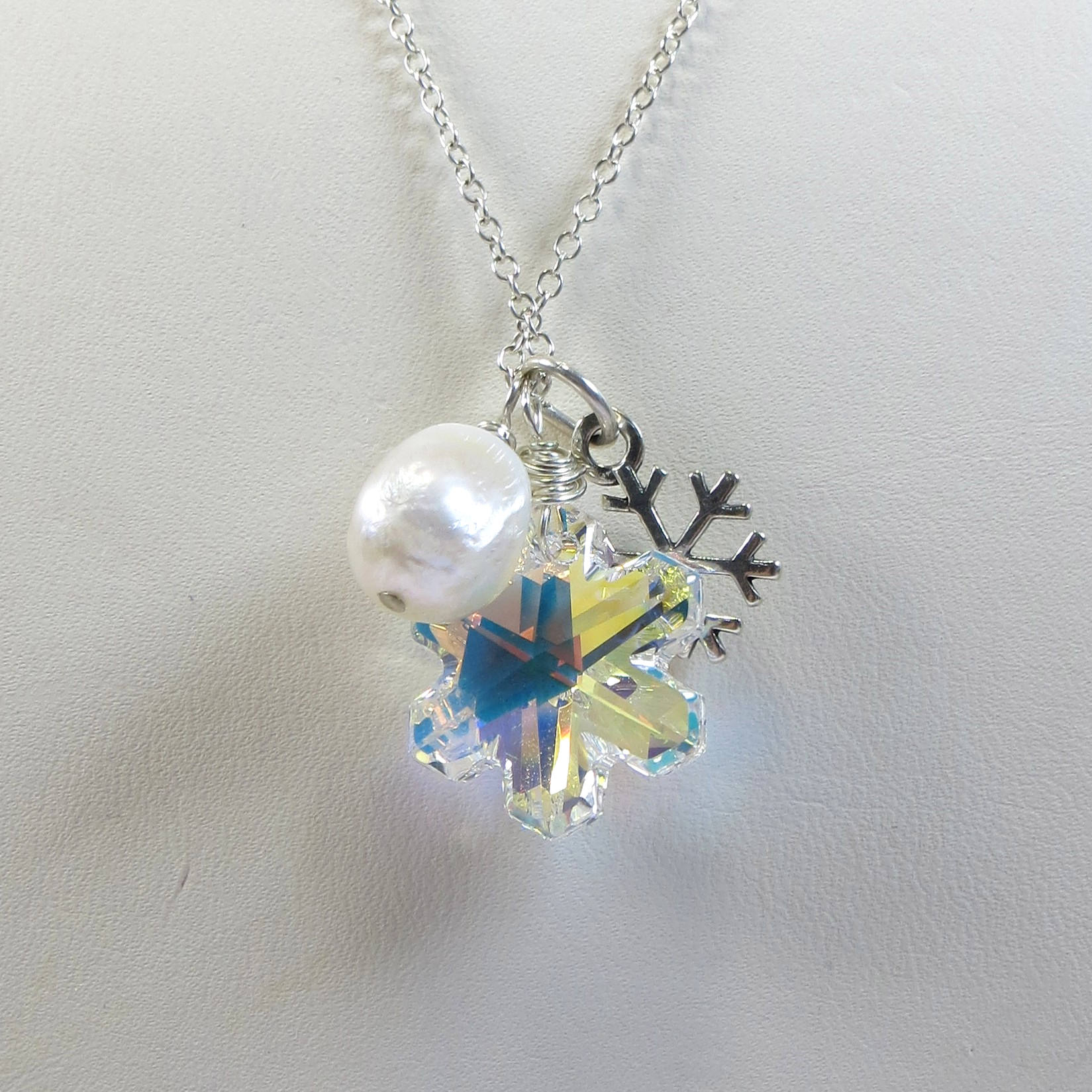Swarovski Snowflake Necklace, Sparkling Swarovski Crystal Ab Snowflake  Necklace With 925 Sterling Silver Snowflake And Freshwater Pearl Pertaining To Newest Shimmering Snowflake Locket Element Necklaces (Gallery 17 of 25)
