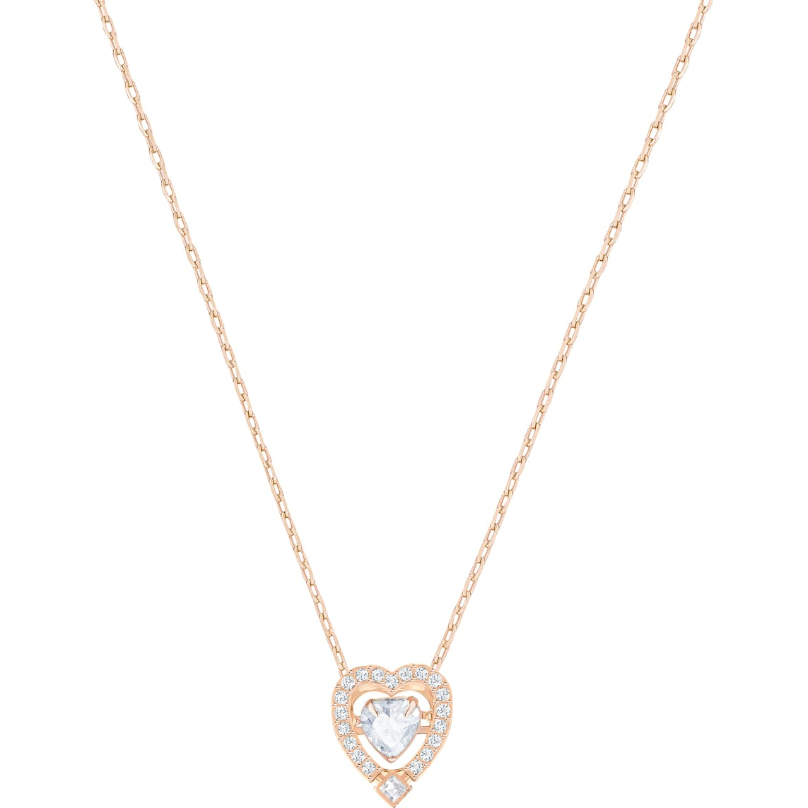 Swarovski Sparkling Dance Heart Necklace, White, Rose Gold Tone Plated Inside Most Recently Released Sparkling Gift Locket Element Necklaces (Gallery 22 of 25)
